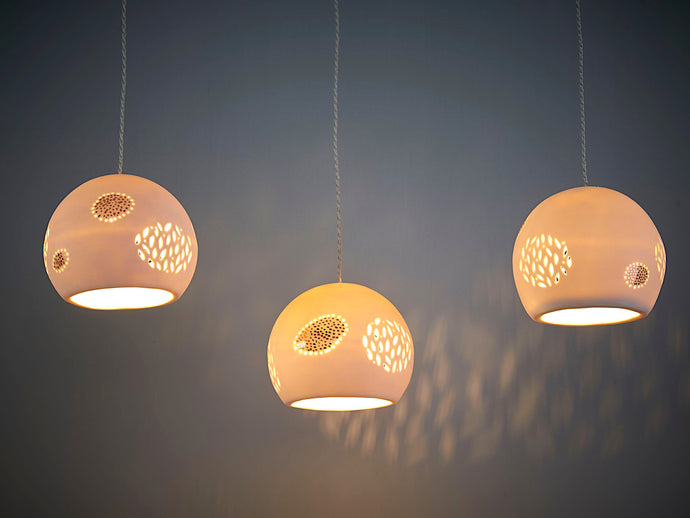 Gold Dotted Ceramic Pendant Lights