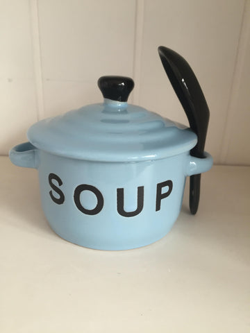 Blue Soup Bowl & Spoon