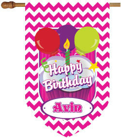Personalized Chevron Hot Pink Birthday House Flag