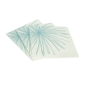 Bamboo Blend Cirque Collection Cocktail Napkin White with Turquoise Design