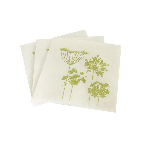Bamboo Blend Zen Collection Cocktail Napkin White with Kiwi Floral