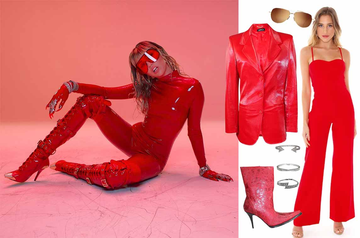 2019's Best Music Video Looks (So Far) | Shop Miley Cyrus, Mother's Daughter inspired music videos | Shop miley cyrus inspired outfits | womens western red boots, womens red leather jacket