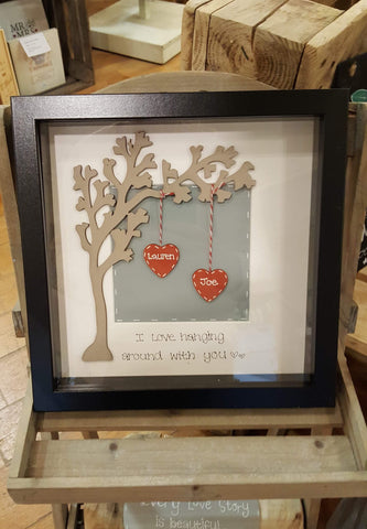 Wooden Arched Tree in Md Box Frame & 2 Hearts 5738