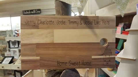 Personalised Sm Solid Wooden Chopping Board - House 8516