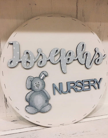 Personalised Round Name Sign Sm - Bunny 8538