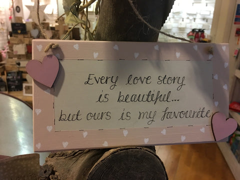 Long Plaque with Border - Every Love Story 7194