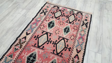 Vintage Faded Red Turkish Kilim Rug Western Anatolia