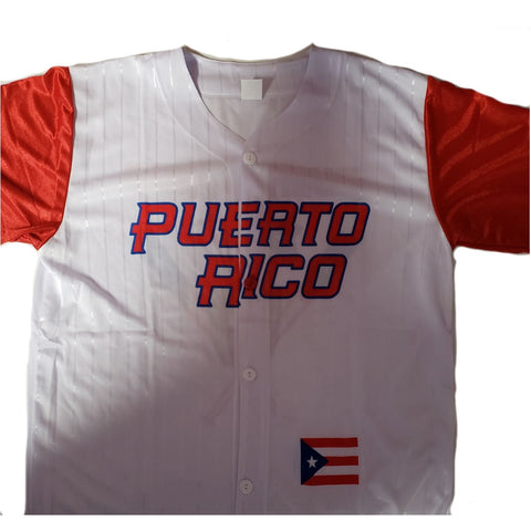 Puerto Rico Baseball Shirt, White
