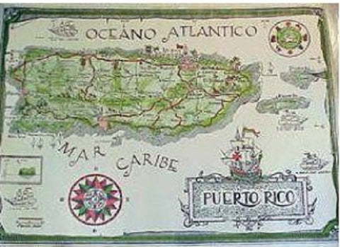 Antique Map of Puerto Rico - www.ElColmado.com