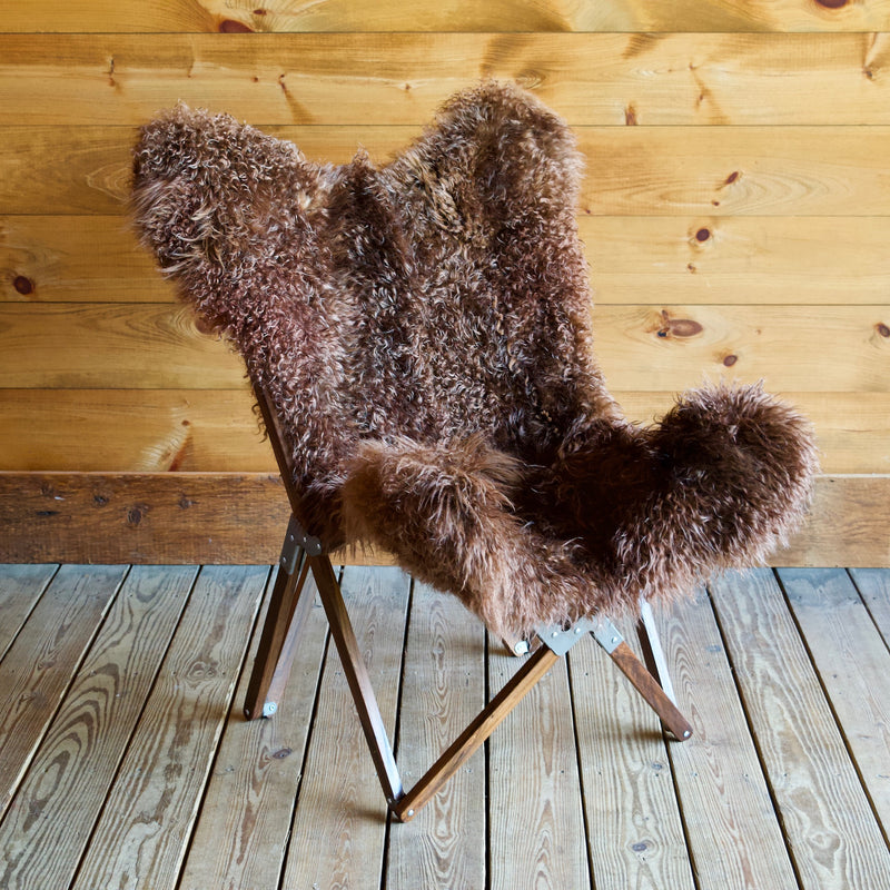 Chocolate Brown Curly Fur Sheepskin Butterfly Chair
