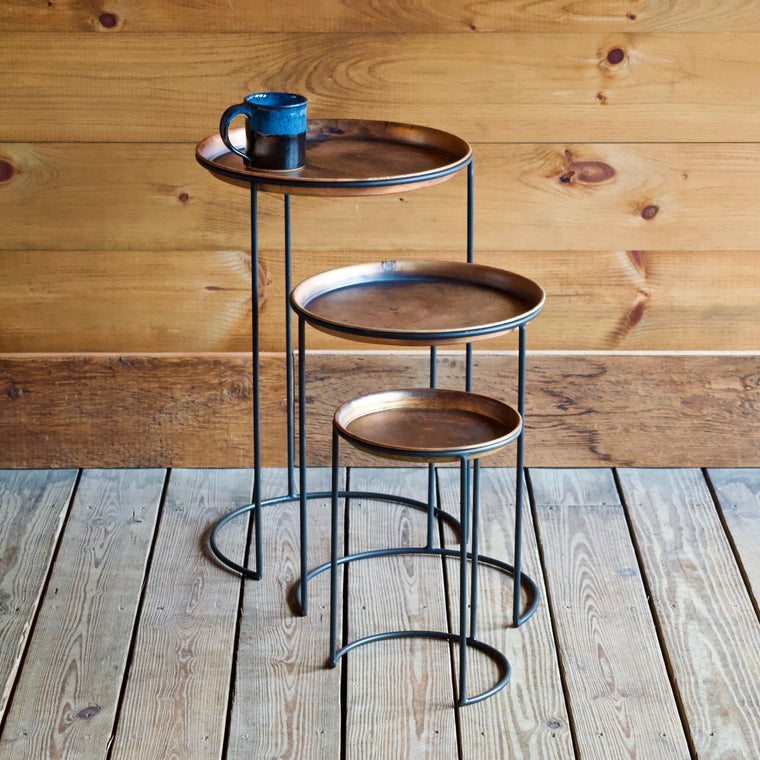 Aged Copper Nesting Tables