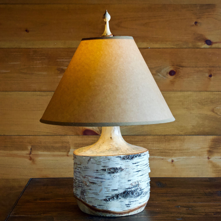 Turned Birch Bark Table Lamp with Kraft Shade