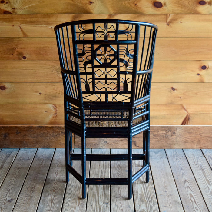 Chinoiserie Asian-Inspired High Back Armchair with Rattan Twig Details
