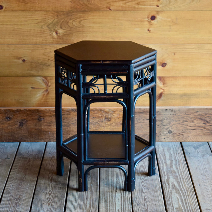 Asian-Inspired Chinoiserie End Table with Octagonal Tabletop