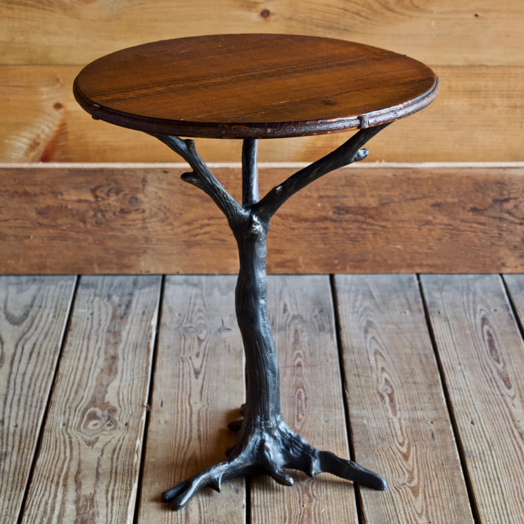 Iron Root Base Side Table with Barnwood Top