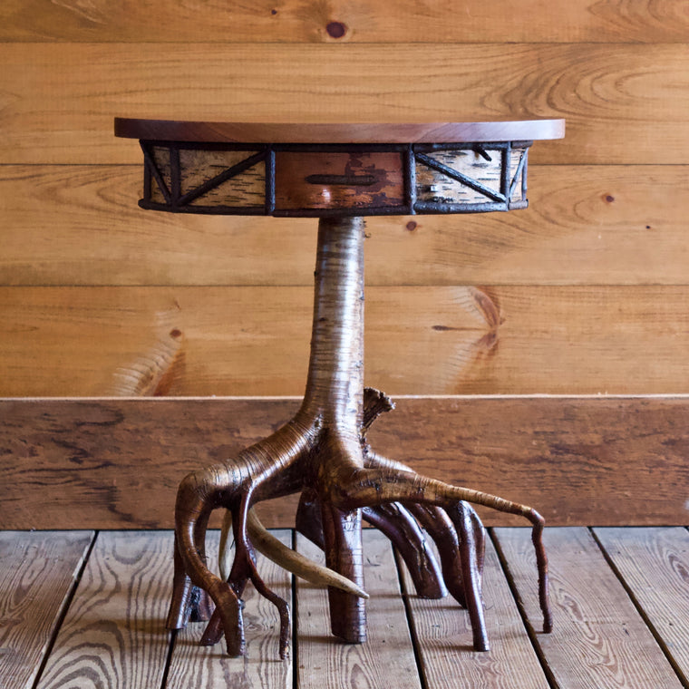 Root Base Side Table with Antler Shed Detail and Black Walnut Oval Top
