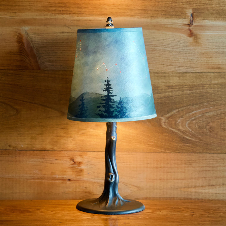 Iron Tree Lamp with Hand Painted Shade