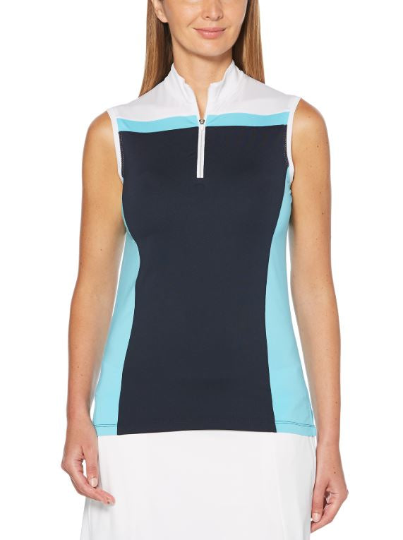 CALLAWAY WOMENS SLEEVELESS 1/4 ZIP COLOR BLOCK POLO - Miami Golf