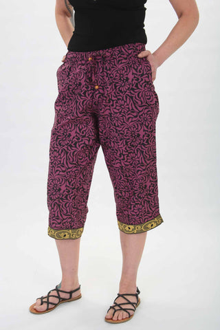 Women's Floral Purple Loungewear Capris Front