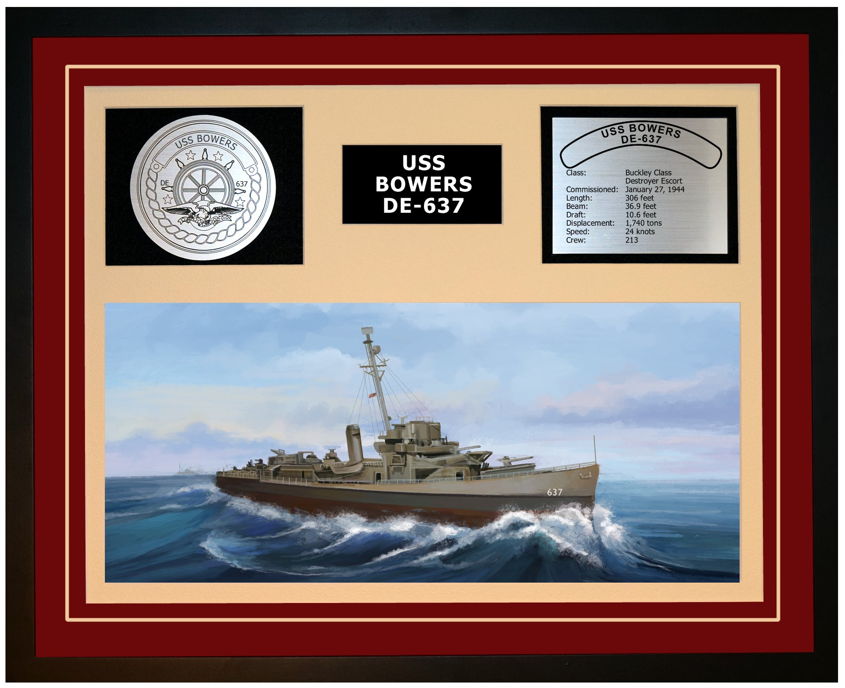 USS BOWERS DE-637 Framed Navy Ship Display Burgundy