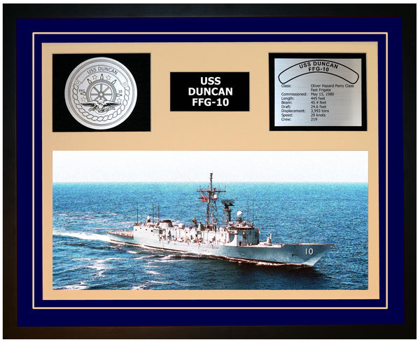 USS DUNCAN FFG-10 Framed Navy Ship Display Blue