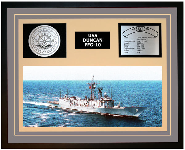 USS DUNCAN FFG-10 Framed Navy Ship Display Grey