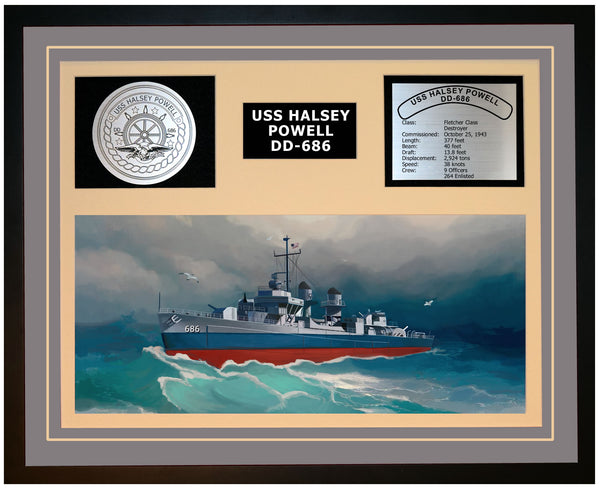 USS HALSEY POWELL DD-686 Framed Navy Ship Display Grey