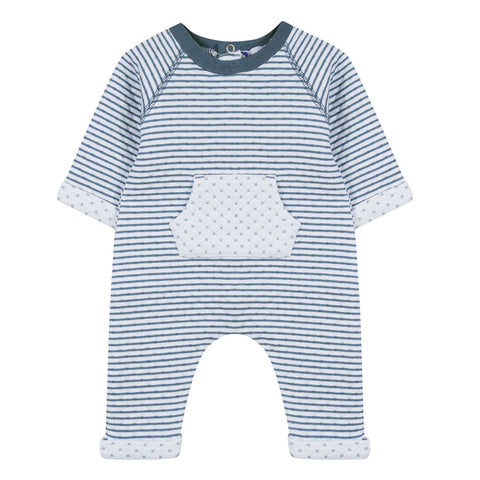 Absorba - Baby Boys Blue Quilted Babygrow-Baby Grow-Sweet Peas Kidswear