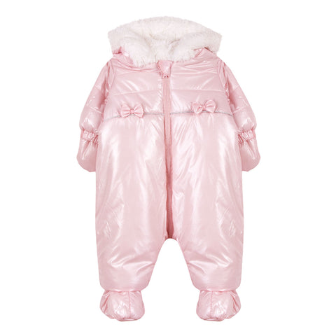 Absorba - Padded Hooded Snowsuit with Detachable Mitts And Slippers-Pramsuit-Sweet Peas Kidswear