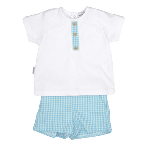 Babidu SS19 - Boys Turquoise Cotton Shorts Set