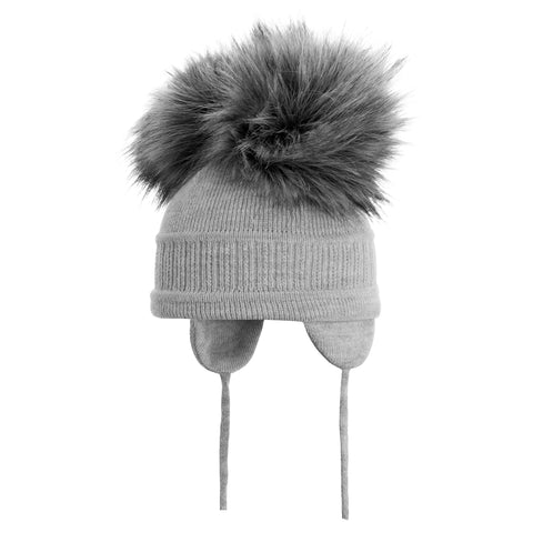 Satila of Sweden - Grey 'Tindra' Faux Fur Double Pom-Pom Hat-Hat-Sweet Peas Kidswear