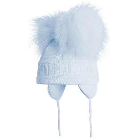Satila of Sweden - Baby Blue 'Tindra' Faux Fur Double Pom-Pom Hat-Hat-Sweet Peas Kidswear