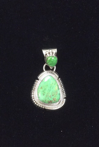 Sterling Silver and 2 Stone Turquoise Pendant