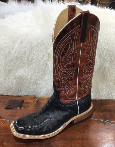 Anderson Bean Black Ostrich Boots