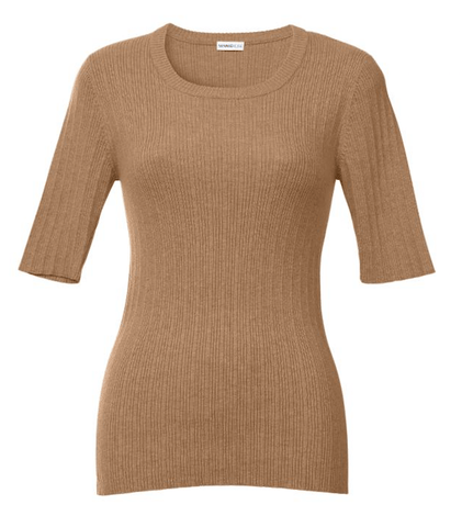 Minnie Rose Elbow-Sleeve Rib-Knit Sweater