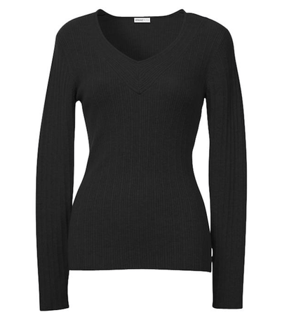 Minnie Rose Ribbed Long Sleeve V-Neck