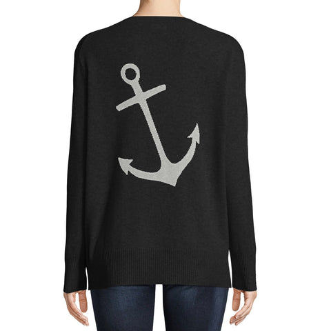 Minnie Rose - Minnie Rose Cashmere Anchor Intarsia Cardigan - Buy Online