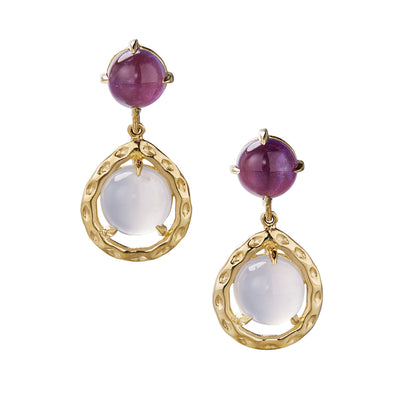 Every day drop earring with amethyst, chalcedony and textured gold