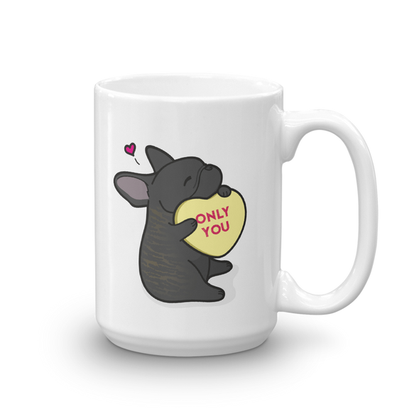 Frenchie Candy Heart Mug - Brindle