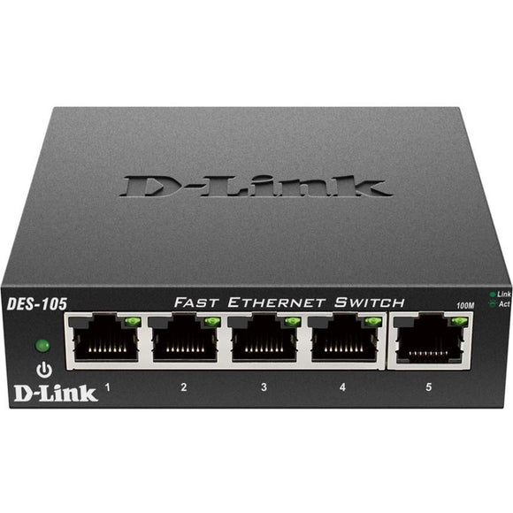 D-Link DES-105 5-Port 10-100 Unmanaged Metal Desktop Switch
