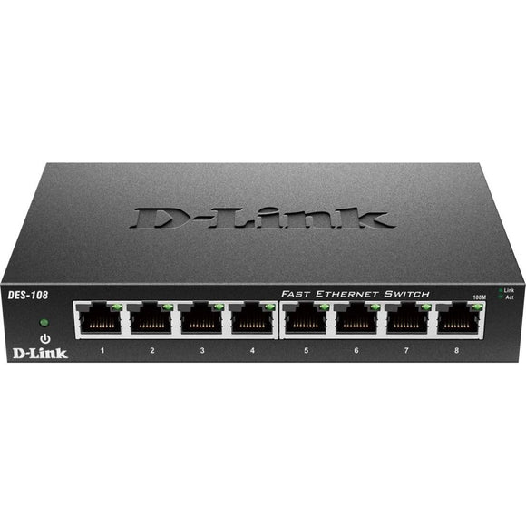 D-Link DES-108 8-Port 10-100 Unmanaged Metal Desktop Switch