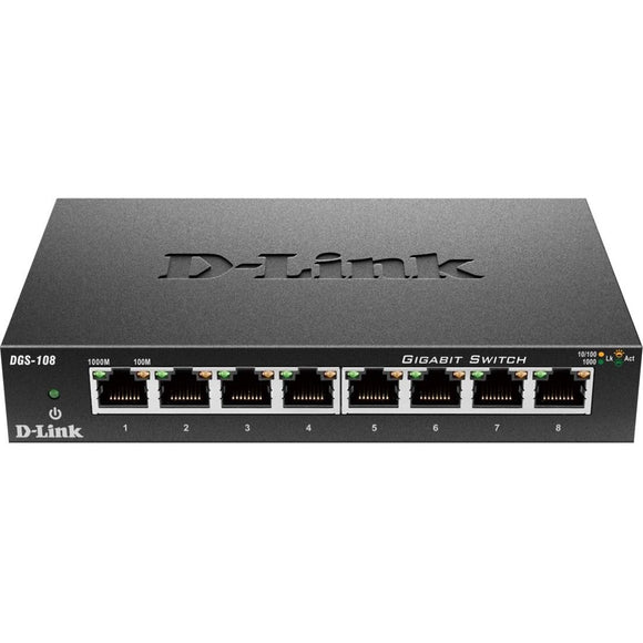 D-Link DGS-108 8 Port Gigabit Unmanaged Metal Desktop Switch