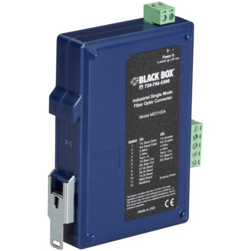 Black Box Industrial DIN Rail RS-232-RS-422-RS-485 Fiber Driver, Single-Mode