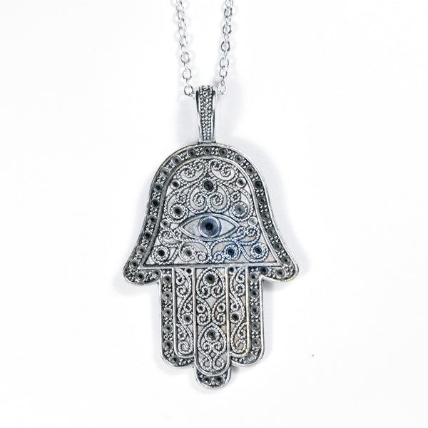 JUNAH. Silver Extra Large Hamsa Hand Necklace | Elnique