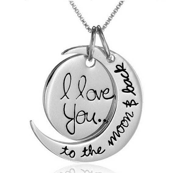 """I Love You"" ""To The Moon And Back"" Crescent Moon Necklace 