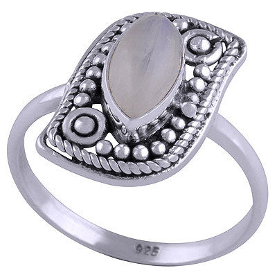 KIRA. Rainbow Moonstone Paisley Style Ring (.925 Sterling Silver) | Elnique