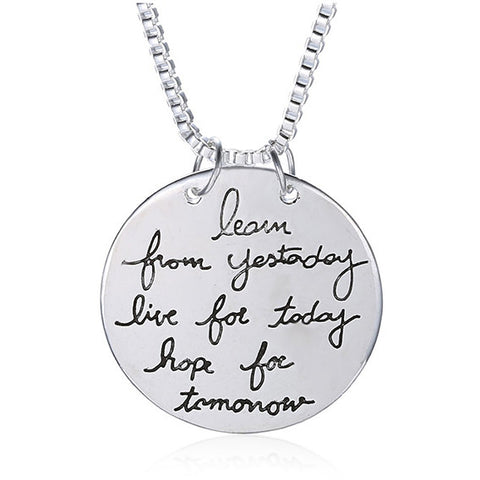 """Learn, Live, Hope"" Necklace 
