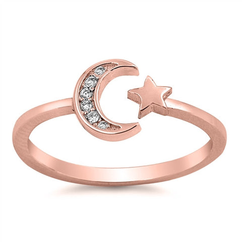ALIGN Rose Gold Crescent Moon and Star Ring | Elnique