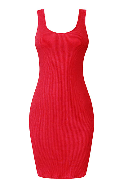 Womens Fitted Ribbed Scoop Neck Sleeveless Bodycon Mini Dress (WDR4529)