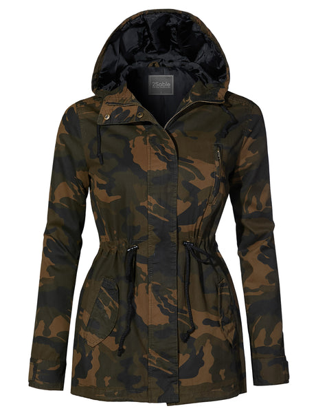 Womens Lightweight Drawstring Waist Camo Safari Military Anorak Hoodie Jacket (WJC4219)